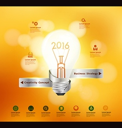 Creative light bulb idea 2016 new year vector