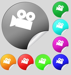 Video camera sign icon content button set of eight vector
