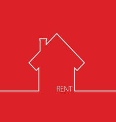 Rent house in red vector