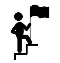 People man with flag on stair flat icons pictogram vector