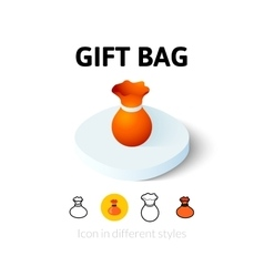 Gift bag icon in different style vector