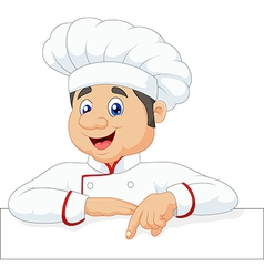 Cartoon chef cloche pointing at blank sign vector
