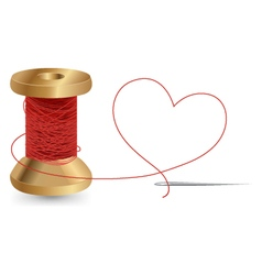 Heart with a needle thread and reel design vector
