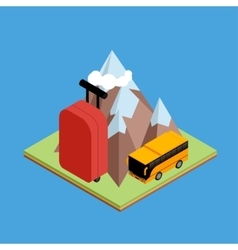 Travel isometric composition vector