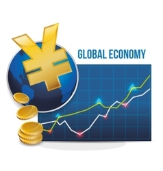 Global economy design money icon isolated vector