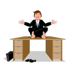 Business yoga businessman meditating on table vector