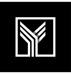 Y capital letter made of stripes enclosed in a vector