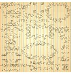 Set of calligraphic swirls for design vector