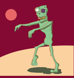 A cartoon zombie with a black eye vector