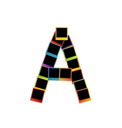 Alphabet A with colorful polaroids vector image vector image