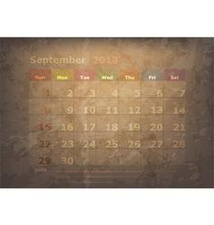antique calendar of September vector image