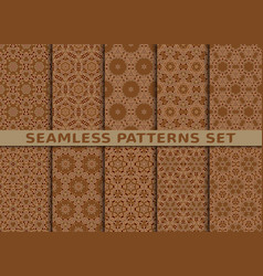 Beautiful geometric seamless patterns set vector