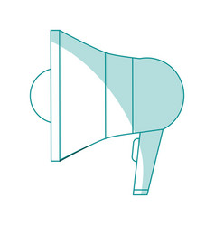 Blue silhouette shading megaphone element sound vector