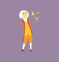 Cartoon character of isaac newton - famous vector