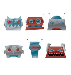 cartoon robot heads vector image vector image