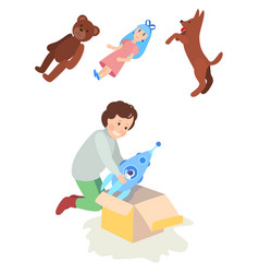 child girl or boy opens the gift box toy rocket vector image vector image