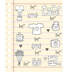 Doodle of love paper backgrounds vector