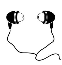 Earphones Silhouette vector image vector image