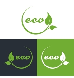 eco or bio friendly company logo green leaves vector image vector image