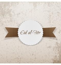 Eid al-fitr greeting paper emblem vector