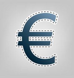 Euro sign blue icon with outline for vector