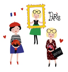 Fashionable Paris models vector image