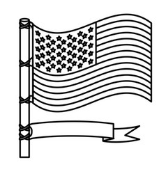 Figure united states flag with ribbon icon vector