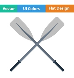 Flat design icon of boat oars vector