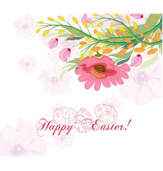 Happy easter card with a lettering and cartoon vector