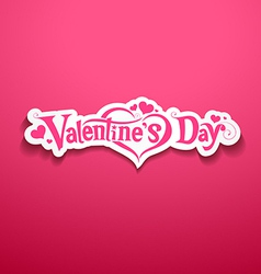 Happy Valentine Day lettering on pink background vector image vector image