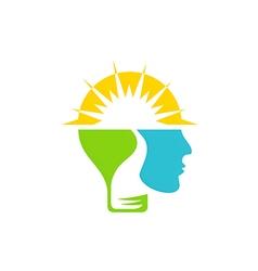 human brain sun shine abstract idea logo vector image vector image