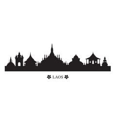 Laos landmarks skyline in silhouette vector