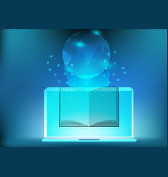 Laptop app library electronic book for education vector