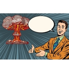 Nuclear explosion lecture on radiation safety vector image