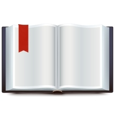 Open book with red bookmark vector image vector image
