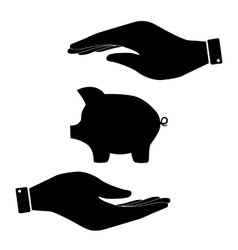 Pig sign in hand icon vector