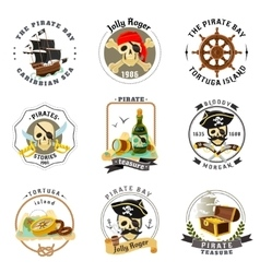 Pirate emblems stickers set vector image