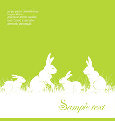 rabbits in grass text vector image vector image