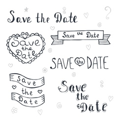 Save the date Wedding invitation Romantic set with vector image