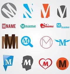 Set of alphabet symbols of letter M vector image vector image
