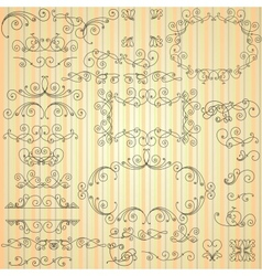 Set of calligraphic swirls for design vector image vector image
