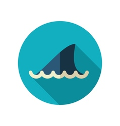 Shark fin flat icon Summer Vacation vector image