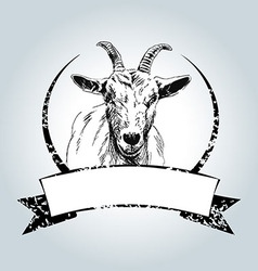 Vintage label with drawing goat vector image