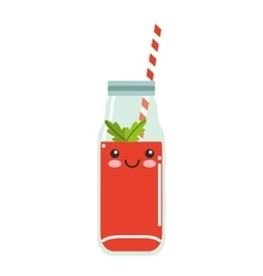 Juice fruit character isolated icon vector