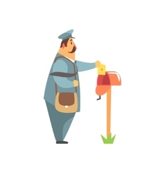 Postman placing a letter into mailbox vector