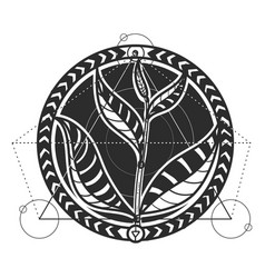 Tea leaves abstract tattoo design vector