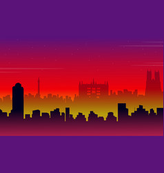 Scenery london city building silhouettes vector