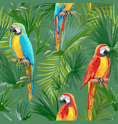 Tropical seamless parrot and floral summer pattern vector