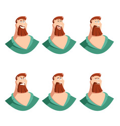 set of beard man face icons vector image