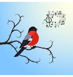 Singing bullfinch bird on a tree branch vector image
